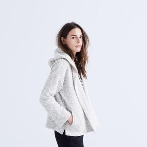 Madewell Textural Hooded Jacket in Marled Ivory